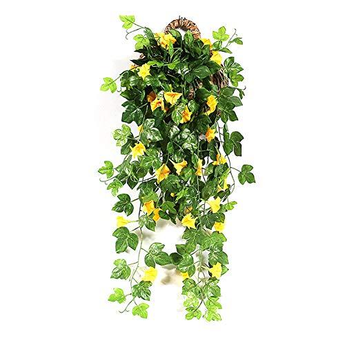 Yimeezuyu Artificial Vines 2pcs Artificial Morning Glory Trumpet Flower Vine Fake Green Plant Home Garden Wall Fence Outdoor Wedding Hanging Baskets Decor Silk Flower Arrangements