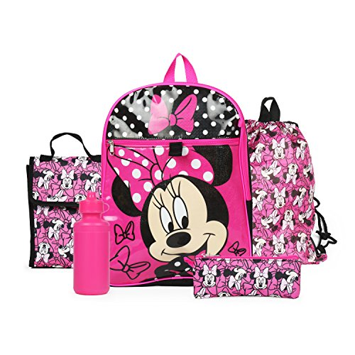 Ralme Disney Minnie Mouse Pink Backpack Back to School 5 Piece Essentials Set