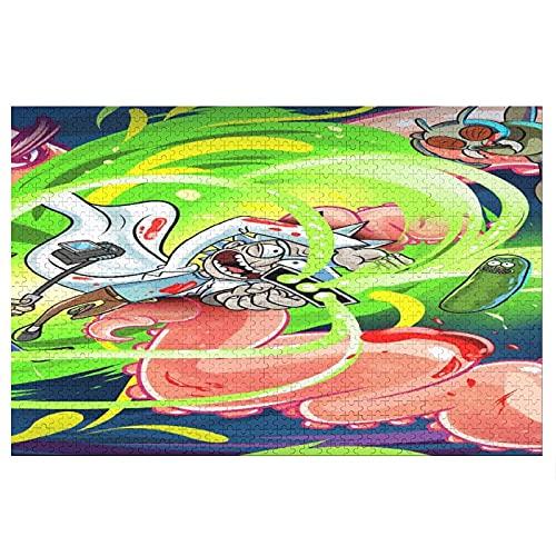 Rompecabezas de Rick y Morty Print para adultos, 1000 piezas de dibujos animados Hello Ki-tty Cat Puzzle Decoración para el hogar, juegos de puzle, juguetes divertidos para niños