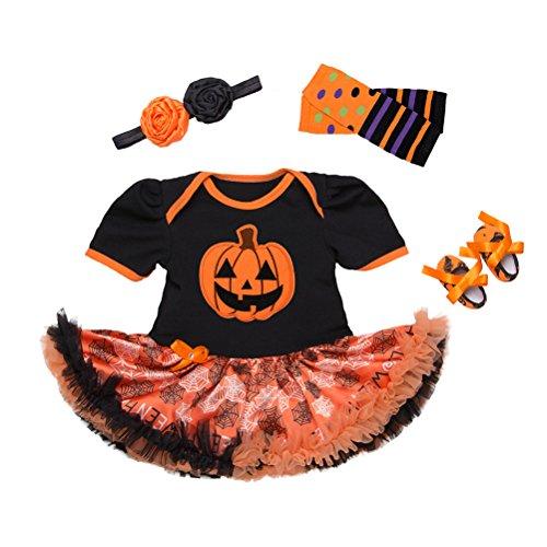 Zhhlinyuan Bébé Filles' Manche Courte Citrouille d'halloween Barboteuse Tutu Jupe Suit avec Bandeau Serre-tête Chaussures