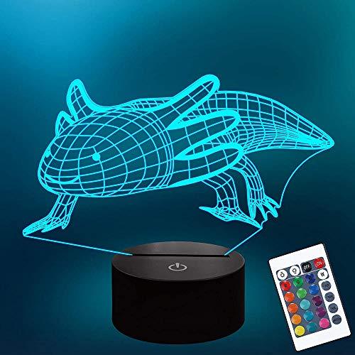 3D lámpara de mesa luz de noche Axolotl 3D luz lámpara 16 colores cambiar con remoto vacaciones y cumpleaños regalos ideas para niños