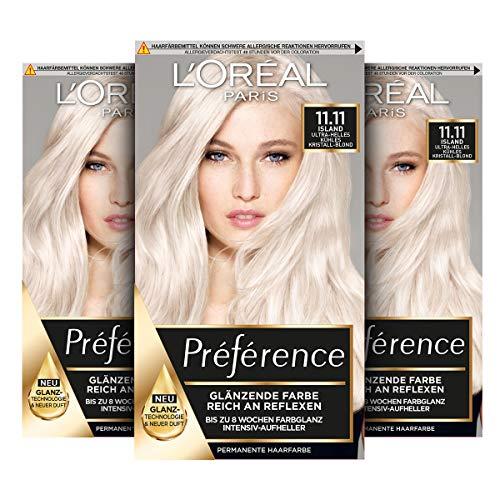 L'Oréal Paris Préférence 11.11 Ultra-Helles Kühles Kristall-Blond (Island) 3er Pack(3 x 183 g)