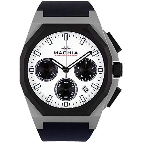 MACHIA V5 Chronograph - Herrenuhr - Saphirglas - Edelstahl -Silikonarmband (V5.3 (Black/White))