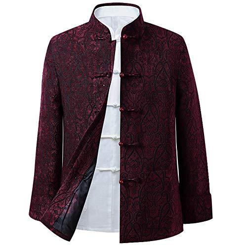 EEKUY Tang pak jas, knoop-stijl herfst jurk lente herfst zijkanten jas Chinese Tang pak nationale kostuums