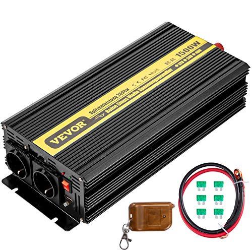 VEVOR 230V Spannungswandler Wechselrichter, 1500W Reiner Sinuswellen Wechselrichter, ZPX1500W 12V DC Pure Sine Wave, Power Reiner Sinus-Wechselrichter Fernbedienung mit Kabel kein Bildschirm