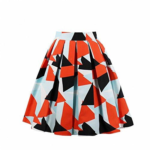 Dames Basic Hoge Taille Een Lijn Vintage Geschilderde Geometrie Patroon Stretchy Katoen Blend Geplooide Swing Midi Rok Jurk