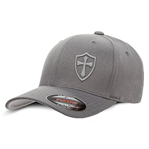 Crusader Knights Templar Cross Baseball Hat Large/X-Large Grey on Grey