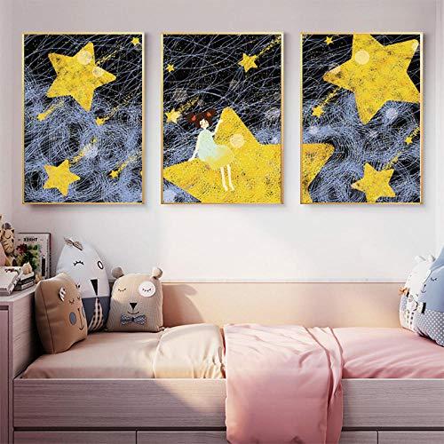 zsBig6 Cartoon Meteor Shower Girl Poster e Stampe Nursery Baby Wall Art Dipinti su Tela Baby Room Decorazioni perparetinordiche 40x60cmx3 SenzaCornice