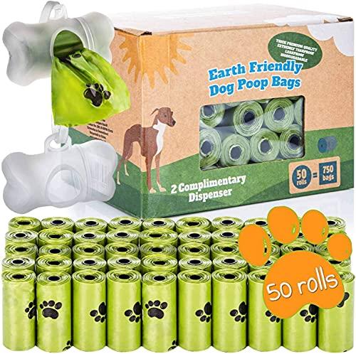 BI0 Hundekotbeutel mit Spender Kompostierbare Kotbeutel für Hunde mit Hundekotbeutelspender 100 % Biologisch abbaubare Hundebeutel mit Leinen Halter (750 Beutel: 50 Rollen + 2 Spender)