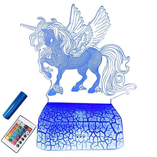 Unicornio 3D LED Luz Nocturna Infantil USB Recargable 16 colores cambiantes control táctil con base de grietas lámpara de noche Lámpara Mesa Dormitorio Decoración para niños y niñas regalos