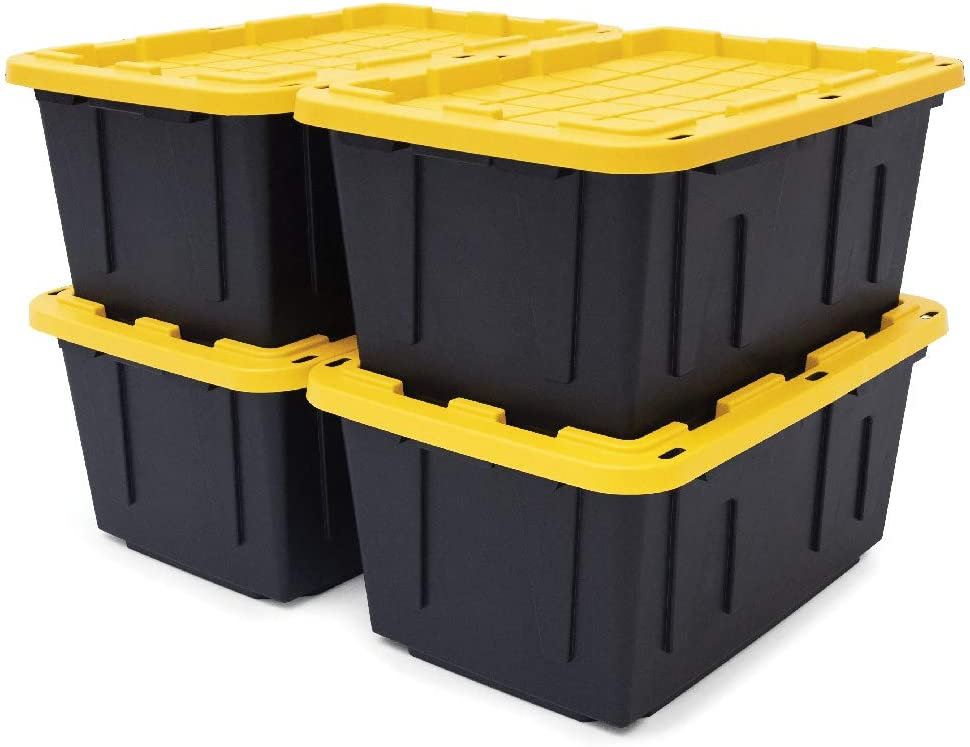 Original BLACK YELLOW 27-Gallon Outstanding with Storage Be super welcome Containers Tough
