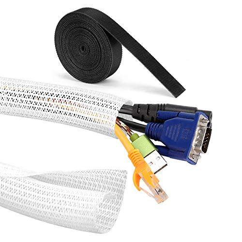 MOSOTECH Organizador Cables, 2 X 1,6m Cubre Cables Expandible con Corte Fácil...
