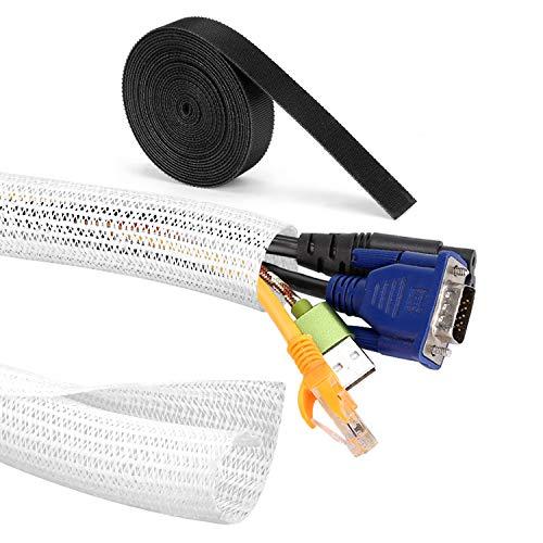 MOSOTECH Organizador Cables, 2 X 1.6m Cubre Cables Expandible con Corte Fácil Negro Bridas, Organizador de Cables Mesa a Prueba de Polvo para Office y PC Escritorio, Ø19mm,Blanco