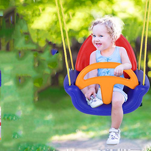 3 in 1 Toddler Swing Seat, Infants to Teens High Back Full Bucket Heavy Duty Chain Detachable Playground Indoor Outdoor Patio Secure Hanging Swing Seat Set (Blue, Weight Capacity: 220lbs)