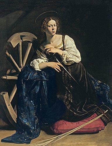 A grande Martir Santa Catarina da Roda Cristã Religião Pintura de Caravaggio na Tela em Vários Tamanhos (55 cm X 42 cm tamanho da imagem)