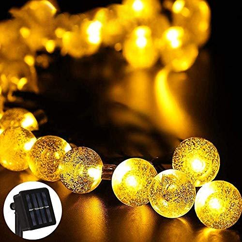 Ibello - Guirnalda luminosa solar de 6 metros y 30 bolas LED impermeables con energía solar, luz blanca cálida, 8 modos decorativos, para fiestas, jardín, cenador (blanco cálido)