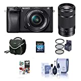 Sony Alpha A6000 Mirrorless Digital Camera with 16-50mm f/3.5-5.6 OSS and 55-210mm f/4.5-6.3 OSS Lenses, Black - Bundle with 16GB SDHC Card, Camera Bag, 40.5mm Filter Kit, Cleaning Kit, Software Pack