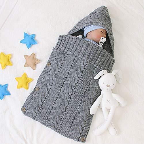 Neugeborenes Baby Gestrickt Wickeln Swaddle Decke Schlafsack für 0-12 Monat Baby (Grau-C, S)
