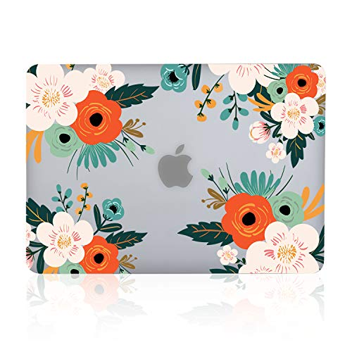iDonzon MacBook Air 13 inch Case (A1466/A1369, 2010-2017 Release), 3D Effect Matte Clear See Through Hard Cover Only Compatible Older Version Mac Air 13.3 inch - Flower