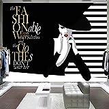 3D Fotomurales Papel pintado Dibujado a mano belleza de moda en blanco y negro No Tejido Murales Moderna Diseño Póster Salón Dormitorio TV Telón de Fondo Pared Hogar Decoración 200x150 cm