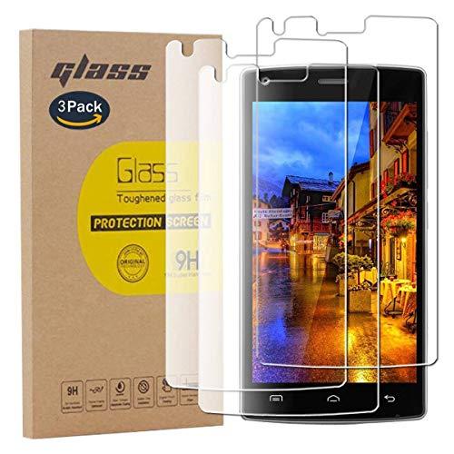 pinlu [3 Pack Protector de Pantalla de Cristal para Doogee X5 MAX/Doogee X5 MAX Pro Protector Cristal Vidrio Templado [9H/2.5D/0.26mm, 99% TransPrincipale]
