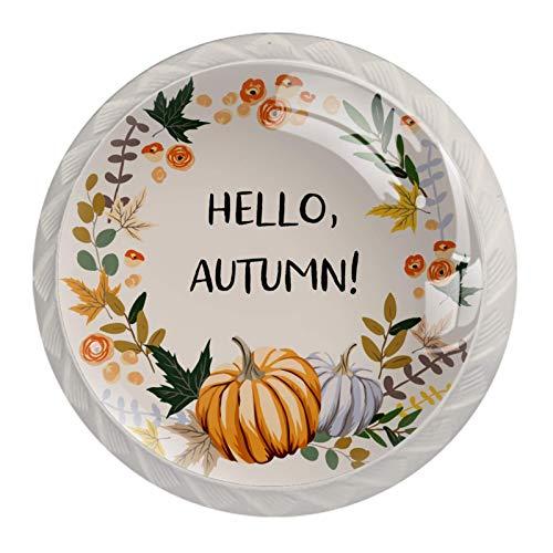 Manijas para cajones Perillas para gabinetes Perillas Redondas Paquete de 4 para armario, cajón, cómoda, cómoda, etc., Hola guirnalda de otoño calabaza