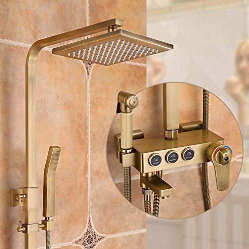Sistema de ducha Sistema de ducha con termostato, juego de mezclador de ducha cuadrado de latón que incluye cabezal de ducha, ducha de mano y boquilla de refuerzo, para ducha de barra de baño ajusta