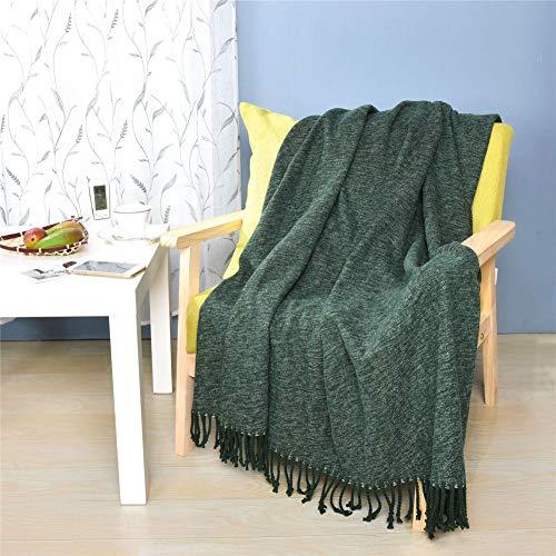 Manta Individual Decorativa Silla Home Accent Multifunción Mantas Cama Para Sofás Con Taslas Hechas A Mano,Verde