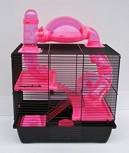 NagerkäfigHamsterkäfig,Zwerghamsterkäfig Rocky,Teddy Lux,Hamster,Maus,Nager,Käfig,Mäusekäfig incl. Röhrensystem in pink