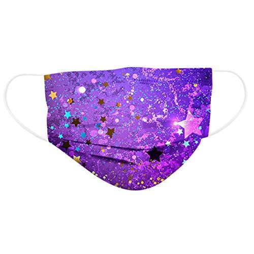 QIUMINGSS 30 Stück Nasenschutz Mundschutz Baumwolle Stoff mit motiv Aurora Muster Gedruckt für Kinder Party Essentials Willkommen im Jahr 2021 B