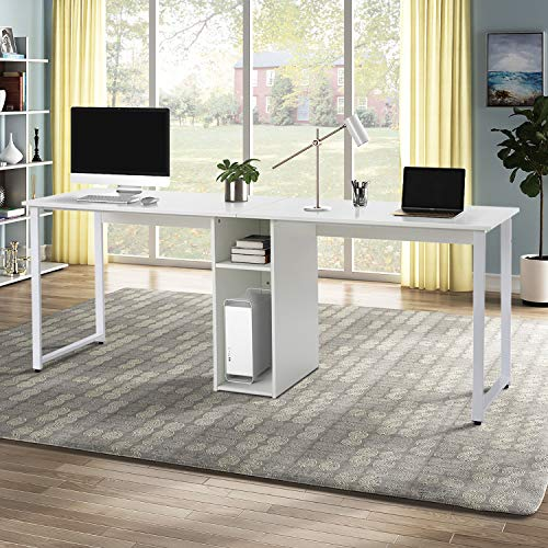 Merax Home Office 2-Person, Large Double Workstation, Writing Storage Desk, 78.74  L x 23.62  W x 29.92  H, White