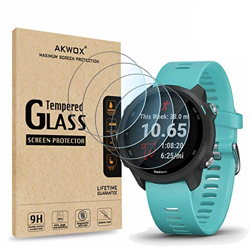 (Pack of 4) Tempered Glass Screen Protector for Garmin Forerunner 245/245 Music, Akwox [0.3mm 2.5D High Definition 9H] Screen Protector for Garmin Forerunner 45/245/Garmin Vivoactive 3