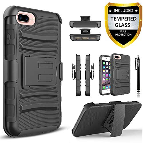iPhone 7 Plus Case, (NOT For The iPhone 7 4.7 Inch)Dual Layers[Combo Holster]Case And Built-In Kickstand Bundled with[Tempered Glass Screen Protector]Hybird Shockproof And Circlemalls Stylus Pen Black