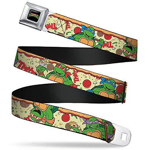 Buckle-Down Seatbelt Belt - Classic TMNT Turtle Pizza - 1.0' Wide - 20-36 Inches in Length