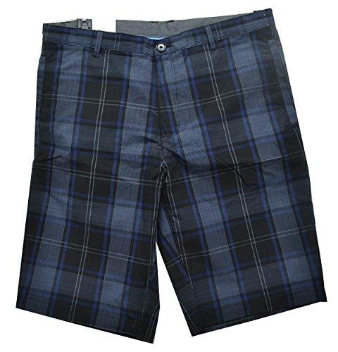 Calvin Klein Regular Fit Men's Windowpane Dressy Refined Shorts Black 32W