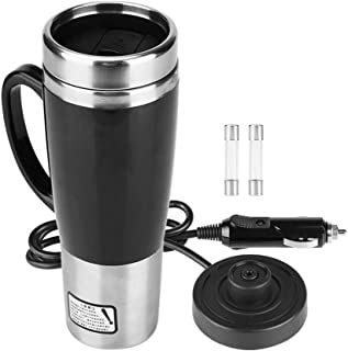 450ml Stainless Steel Electric Car Cup Travel Heating Mug, Keenso Electric Kettles Boiling Car Coffee Mug Heater with Cigarette Lighter(24V)