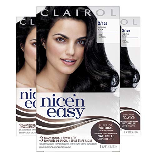 Clairol Nice'n Easy Original Permanent Hair Color, 2 Black, 3 Count