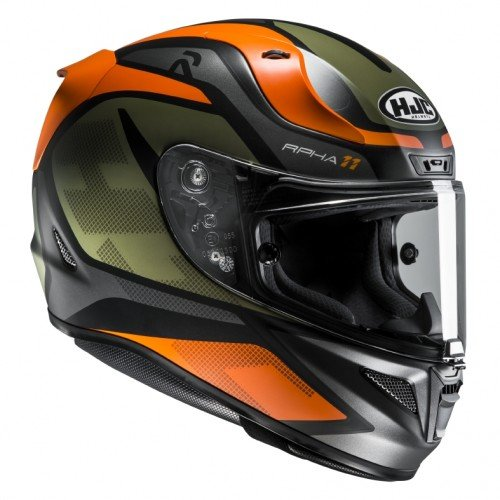 HJC Motorradhelm RPHA 11 Deroka MC7SF, Schwarz/Orange, Größe S