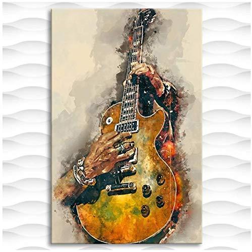 Xynfl Cuadro En Lienzo Impreso Pintura Guitarra Eléctrica Cartel De Arte De...