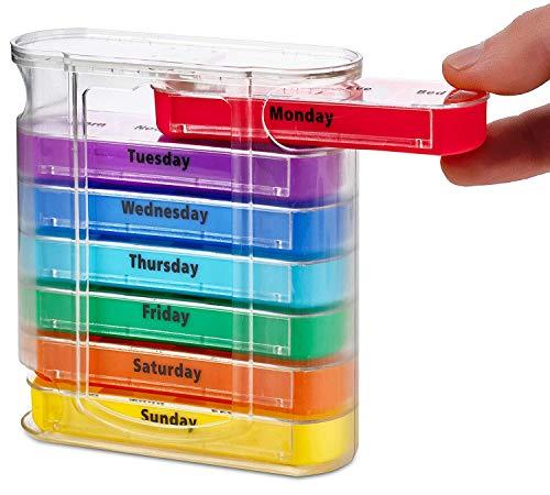 Organizador semanal de pastillas MEDca, para cuatro veces al día, dispensador con compartimientos para AM y PM