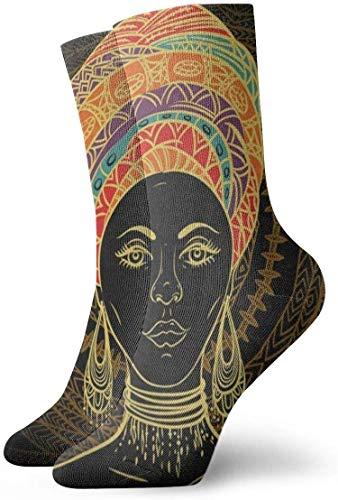 BEDKKJY bemanning sokken mooie Afrikaanse vrouw Aztec Tribal etnische ontwerper Mens jurk Stocking Decor sok voor jeugd