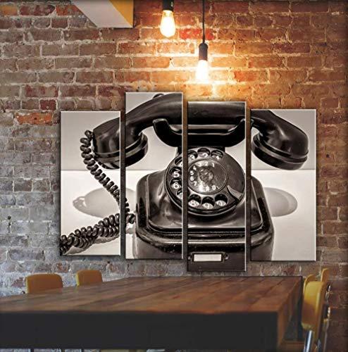 IOIP Cuadro En Lienzo 4 Piezas Impresiones sobre Lienzo Gran teléfono Antiguo ImpresióN HD Pintura 4 Piezas Modernos Salón Decoracion Murales Pared Lona XXL Hogar Dormitorios Decor