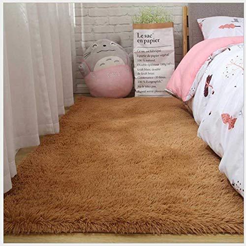 ZWWZ Shaggy Teppich seidig, Plüsch, Massivfarbe, Moderne däule; COR, plüsch, für Wohnzimmer, Sofa, spazieren, Schlafzimmer (Couleur: Khaki, hackel: 40x60 cm) HAIKE