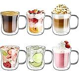 Ecooe 6x350ml Tazas de Café de Cristal,Vasos de Doble Pared con Asa,Tazas de...