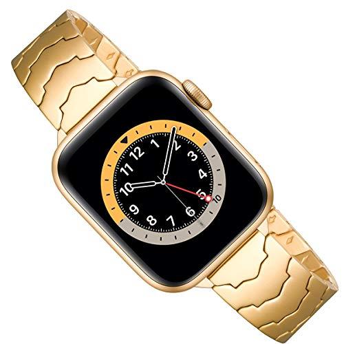 AOYU Compatible con Apple Watch Correa 38 mm 40 mm 42 mm 44 mm, metal único con forma de estrella de repuesto compatible para iWatch Series 6/5/4/3/2/1, SE (38 mm 40 mm, dorado).
