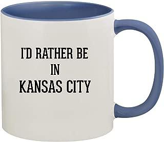 I'd Rather Be In KANSAS CITY - 11oz Ceramic Colored Inside & Handle Coffee Mug, Cambridge Blue
