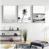 Pintura moderna paisaje lienzo cartel océano playa palma cita positiva impresión pintura nórdica negro blanco decoración del hogar 3 piezas 50x70cm sin marco