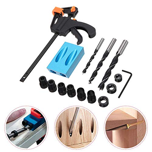 15° Pocket Hole Screw Jig Dowel Drill Joinery Kit, 15pcs Carpenters Wood Woodwork Guides 6/8/10mm Drive Adapter for Carpenters Woodwork Guides Joint Angle Tool Carpentry Locator