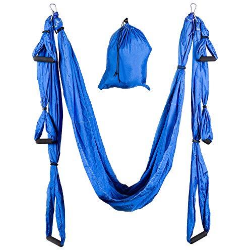 KINGSBOX Yoga Hammock, Columpio de Yoga Aéreo, Carga Máxima 300 kg, Color Azul Océano, Material Nylon Suave