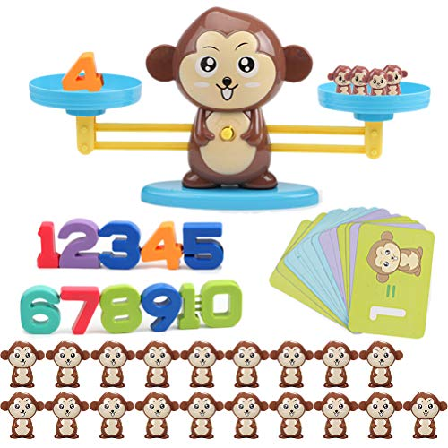 Ailyoo Mono Escala Digital Juguete de Libra Educación temprana Equilibrio para niños Iluminación Digital Suma y resta Escala matemática Juguetes